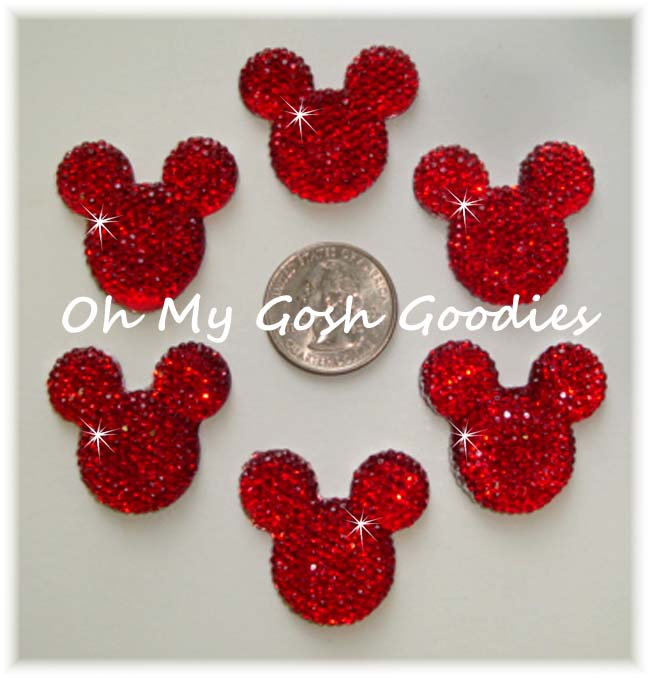 2PC MOUSE HEAD BLING RED RESINS