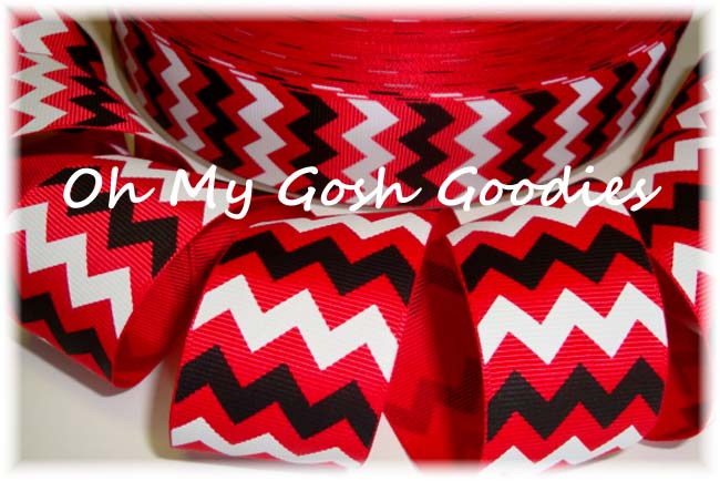 1.5 CHEVRON RED WHITE BLACK - 5 YARDS