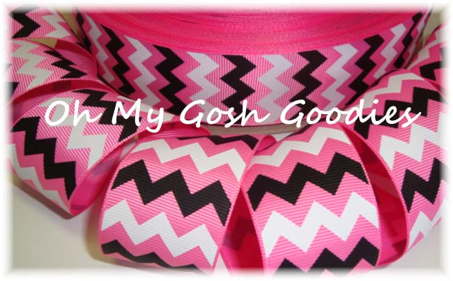 1.5 PINK BLACK WHITE CHEVRON - 5 YARDS