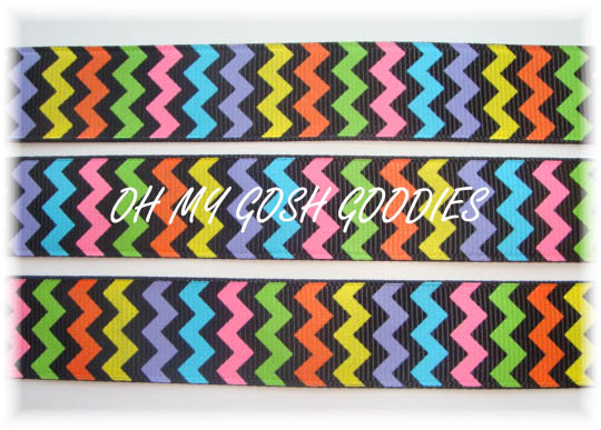 7/8 MULTI CHEVRON ZIG ZAG BLACK - 5 YARDS