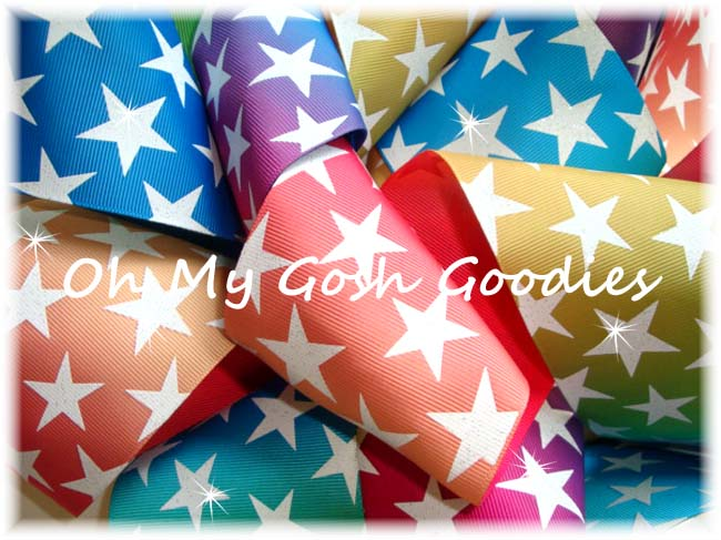 """3"""" OOAK PRIMARY OMBRE GLITTER STARS - 4 2/3 REMNANT YARDS"""