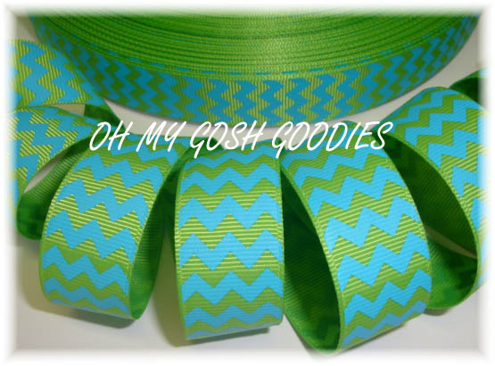 7/8 LIME TURQUOISE CHEVRON - 5 YARDS