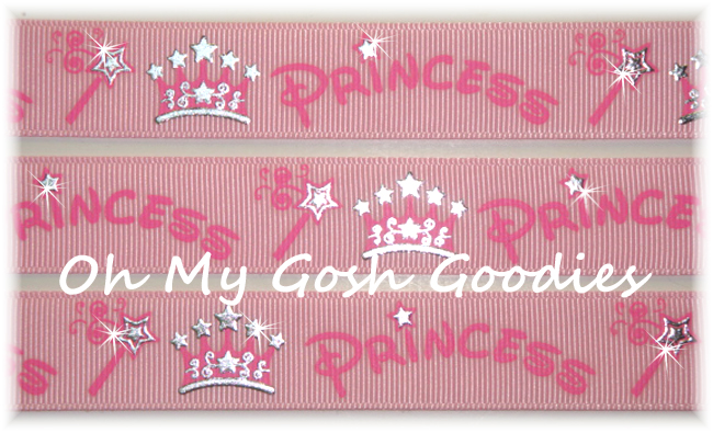7/8 PRINCESS SPARKLE CROWNS PINK - 5 Yards