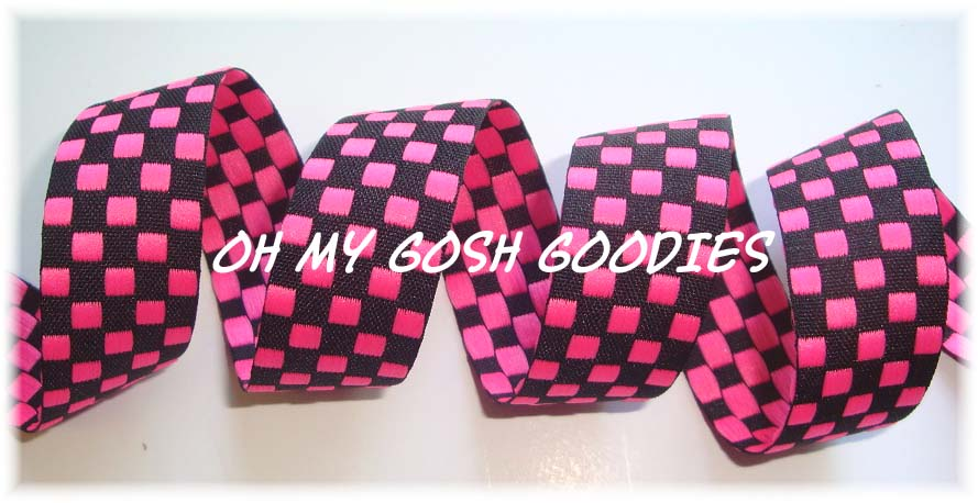 7/8 HOT PINK BLACK REVERSIBLE CHECK - 5 YARDS