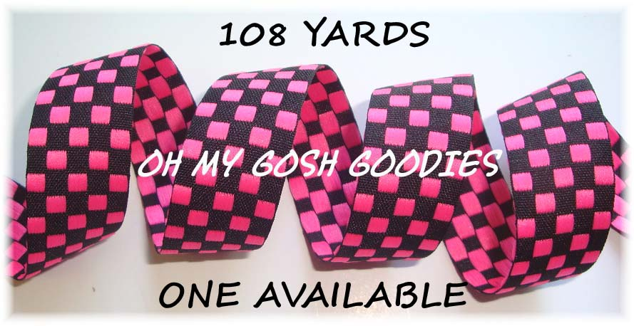 7/8 OOAK HOT PINK BLACK REVERSIBLE CHECK - 108 YARDS