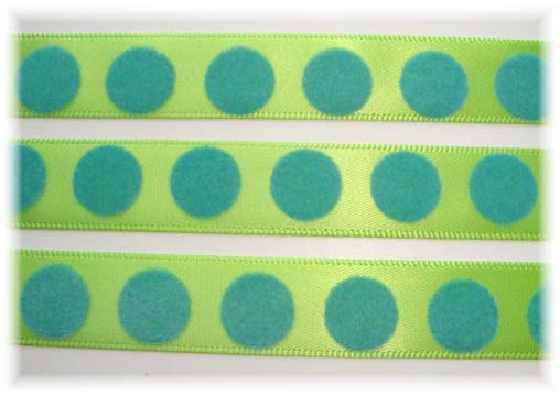 5/8 LIME FLOCKED TURQ DOTS - 3YD