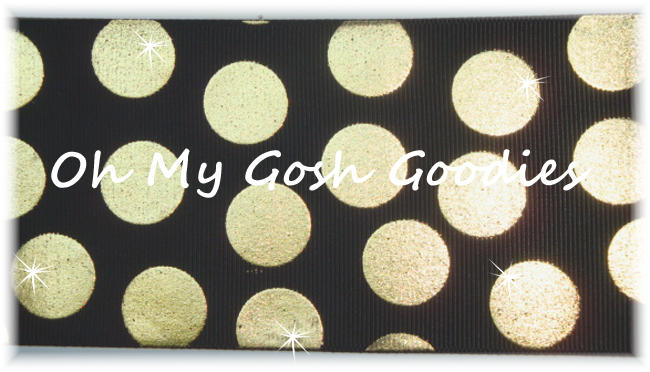 2 1/4 OOAK METALLIC GOLD CHEER DOTS BLACK - 4 YARDS