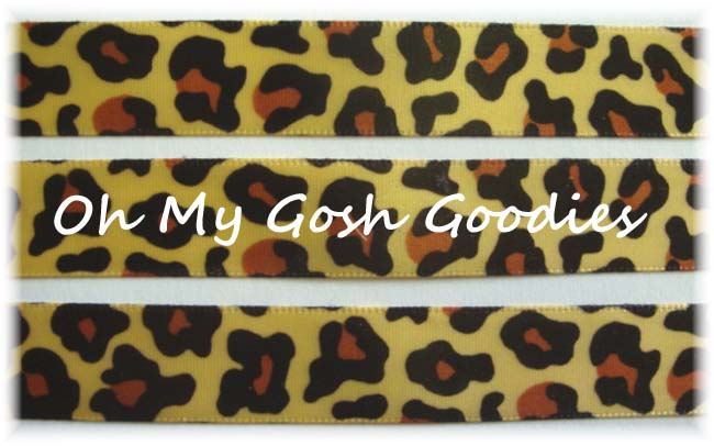 5/8 SAFARI LEOPARD GOLD SATIN - 5 YARDS