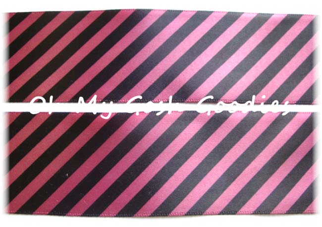 1.5 SALE VENUS ROSE PINK BLACK DIAGONAL STRIPE SATIN - 5 Yards