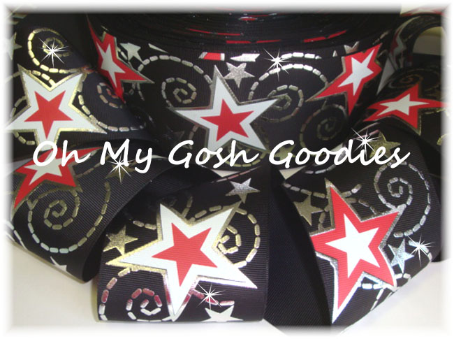 "3"" BLACK RED WHITE STAR BLING - 5 YARDS"