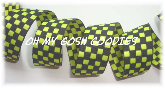 7/8 LIME BLACK REVERSIBLE CHECK - 5 YARDS