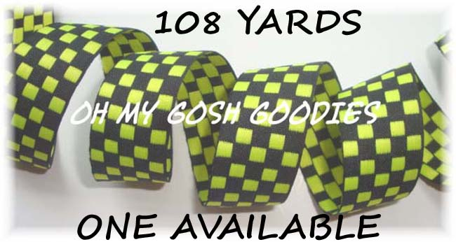7/8 OOAK LIME BLACK REVERSIBLE CHECK - 108 YARDS