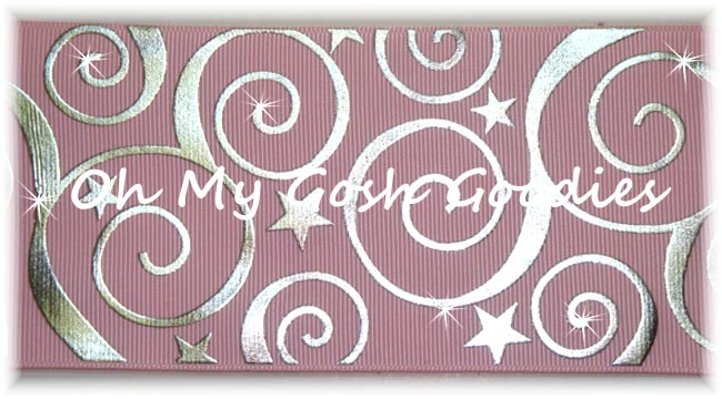 "3"" SWIRLS & STARS BLING MEDIUM PINK -  5 YARDS"