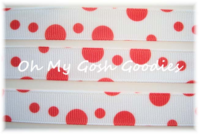 5/8 MAY ARTS WHITE RED RANDOM DOTS - 5 YARDS