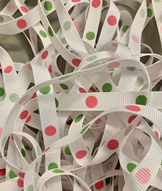 3/8 WHITE HOT PINK LIME HOT DOTS - 34 YARD ROLL