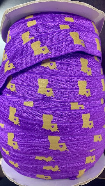 "100 YARD ROLL 7/8"" PURPLE LOUISIANA FOE ELASTIC"