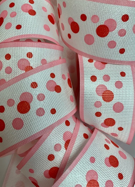 1.5 OOAK PINK / SHOCKING RANDOM DOTS - 10 1/2 YARDS