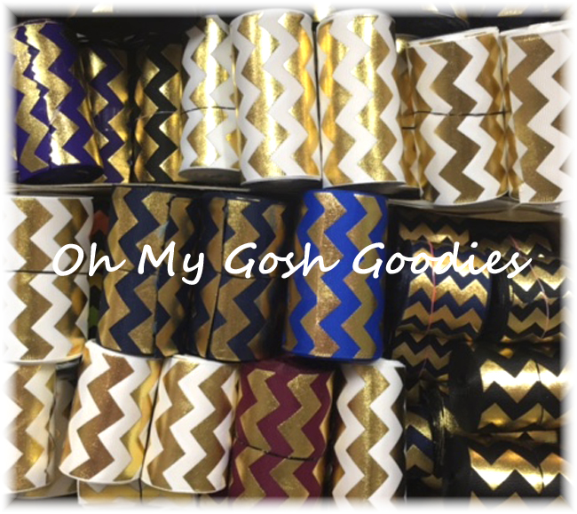 "GOODY BAG 2 1/4"" & 3"" GOLD METALLIC CHEVRON - 10 YARDS"