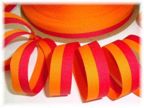 5/8 ORANGE RED BI STRIPE - 5 YARDS