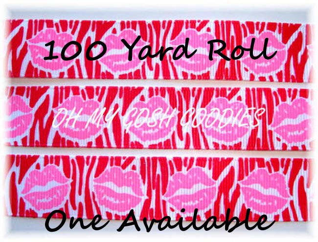 1.5 RIBBON KISSES RED ZEBRA PINK LIPS - 100 YARD ROLL