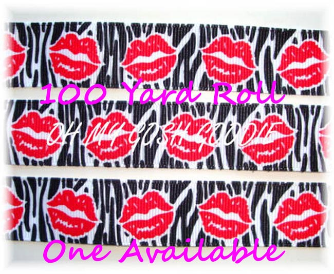 7/8 RIBBON KISSES BLACK ZEBRA RED LIPS - 100 YARD ROLL