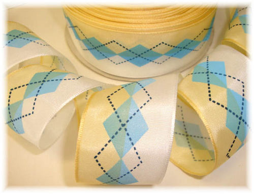 1.5 OOAK OFFRAY ARGYLE YELLOW BLUE - 8 YARDS