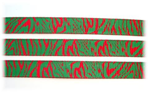 3/8 CHRISTMAS ZEBRA RED GREEN - 5 YARDS