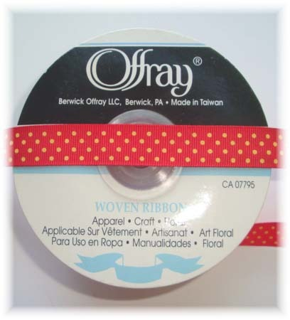 5/8 OFFRAY RED YELLOW SWISS DOTS - 5 YARDS