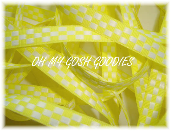 3/8 FLUORESCENT YELLOW REVERSIBLE JACQUARD - 5 YARDS