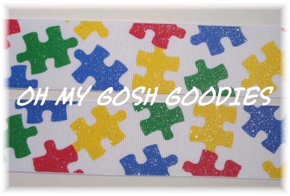 1.5 OOAK GLITTER  AUTISM AWARENESS PUZZLE -  4 1/3 YARDS