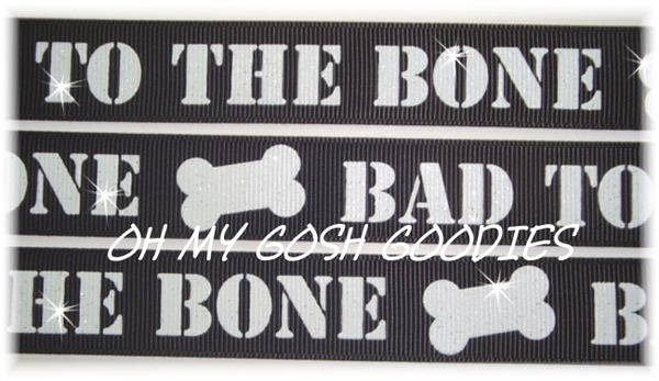 7/8 GLITTER BAD TO THE BONE BLACK - 5 YARDS