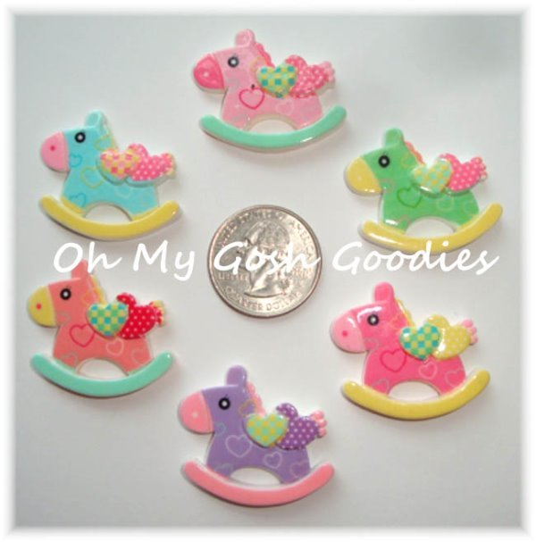 6PC ROCKING HORSE RESINS