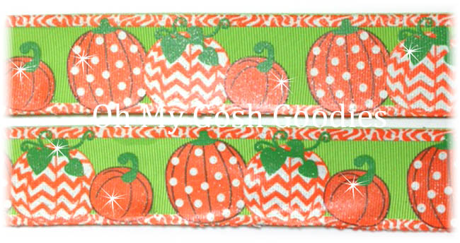 1.5 POLKA DOT CHEVRON GLITTER PUMPKINS LIME - 5 YARDS