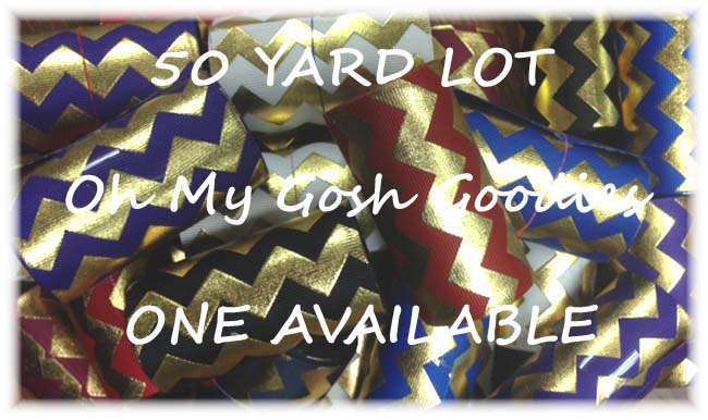 "OOAK GOODY BAG 3"" GOLD METALLIC CHEVRON - 50 YARD LOT"