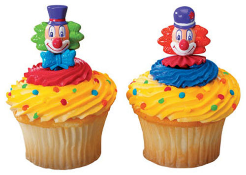 12PC CLOWN  CUPCAKE PICK FOR HAIRBOWS