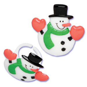 12PC SNOWMAN HEART CUPCAKE PICK FOR HAIRBOWS