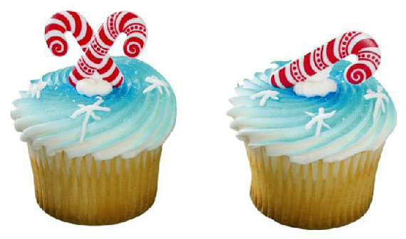 12PC CANDY CANE CUPCAKE PICK FOR HAIRBOWS