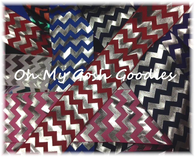 GOODY BAG METALLIC SILVER CHEVRON - 50+ YARDS
