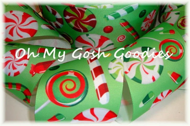"3"" LIME PEPPERMINT CANDY CANES - 5 YARD"