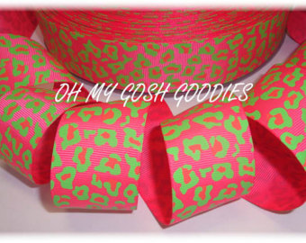 1.5 PINK LIME NEON LEOPARD - 5 YARDS
