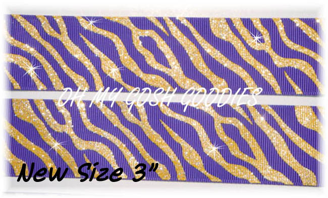 2 1/4 OOAK GLITTER ZEBRA PURPLE GOLD - 1 1/2 YARDS