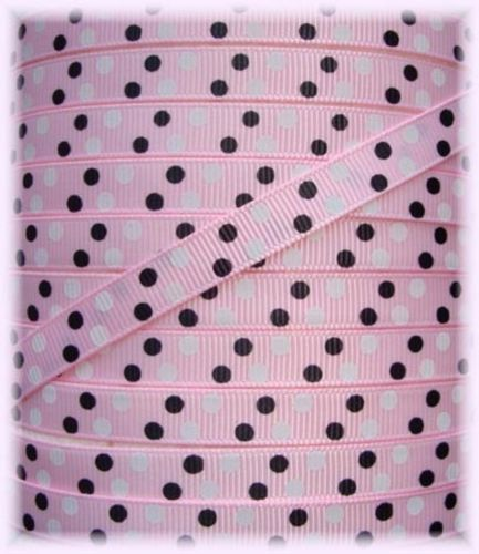 3/8 PINK BLACK WHITE MINI DOTS - 5 YARDS
