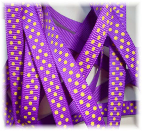 3/8 PURPLE * YELLOW GOLD * PIN DOTS - 5 YARDS