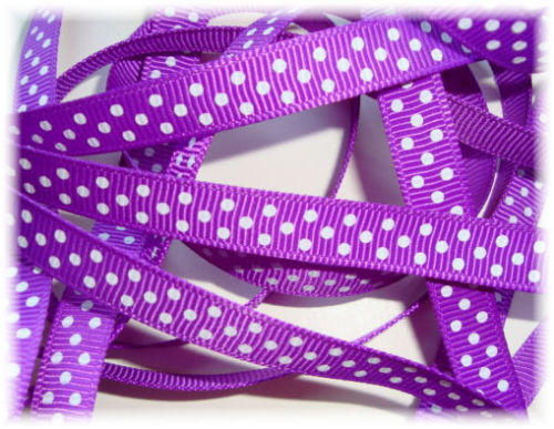 3/8 PURPLE * WHITE * PIN DOTS - 5 YARDS