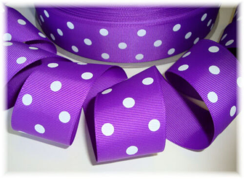 1.5 PURPLE WHITE POLKA DOTS - 5 YARDS