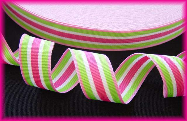 7/8 PINK LIME SHERBERT SWIRL STRIPE - 5 YARDS