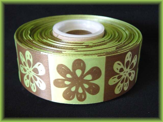1.5 OFFRAY TIKI FLOWERS LIME BROWN 5YD