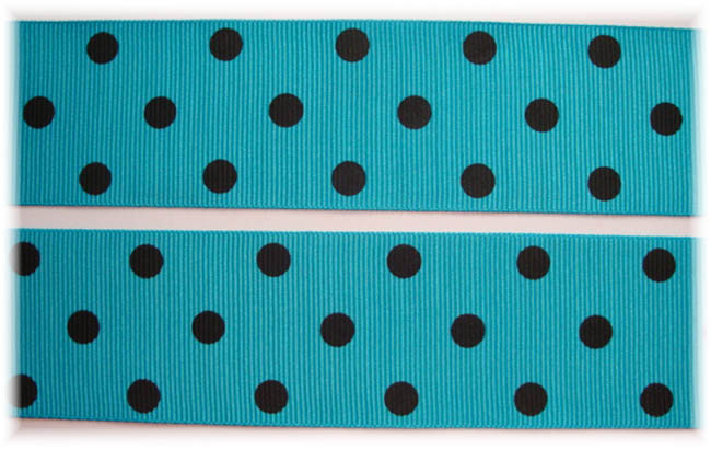 1.5 SALE TURQUOISE BLACK POLKA DOTS - 5 YARDS