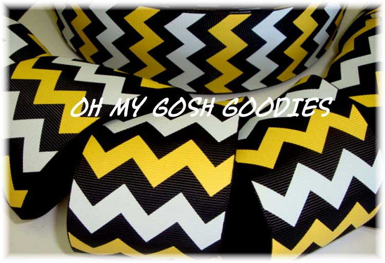 2 1/4 *IRREGULAR* BLACK GOLD WHITE CHEVRON  - 5 YARDS