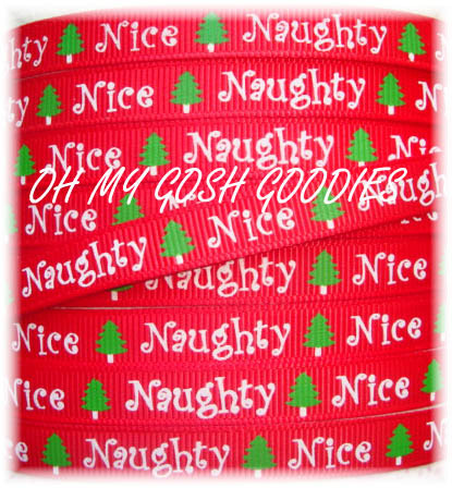 3/8 GLITTER NAUGHTY OR NICE - 5 YARDS